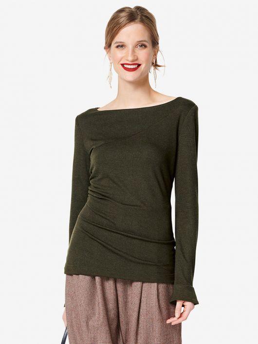 Пуловер вузького крою зі зборками у шві