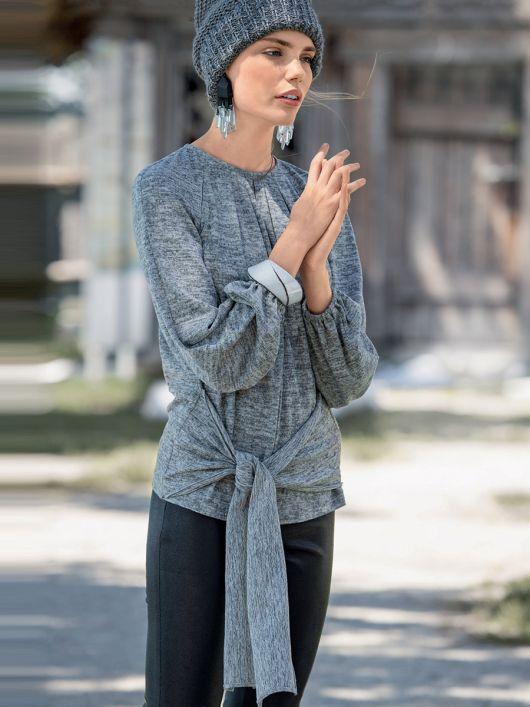 Пуловер з рукавами реглан і зав'язками