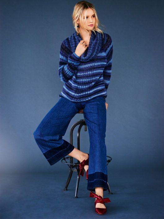 Пуловер реглан з максі-коміром гольф