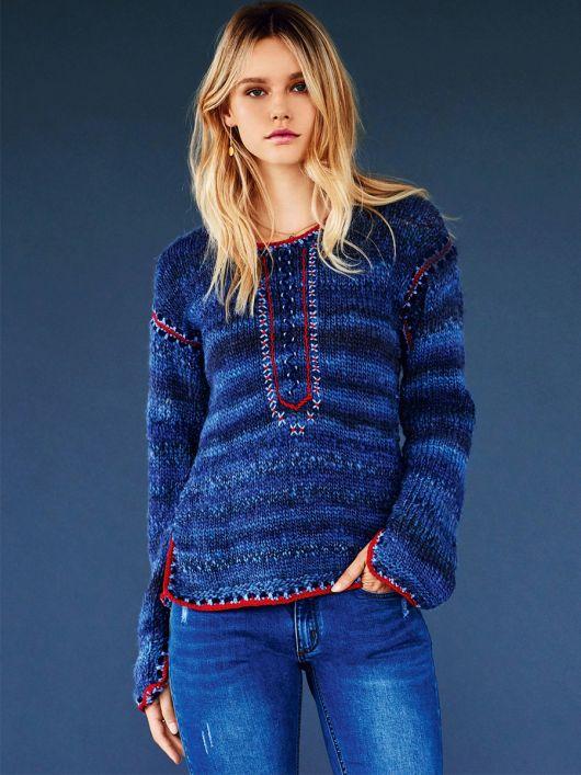 Пуловер в'язаний і з вишивкою