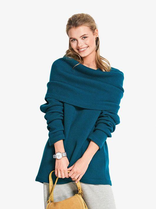 Пуловер зі знімним коміром-хомутом