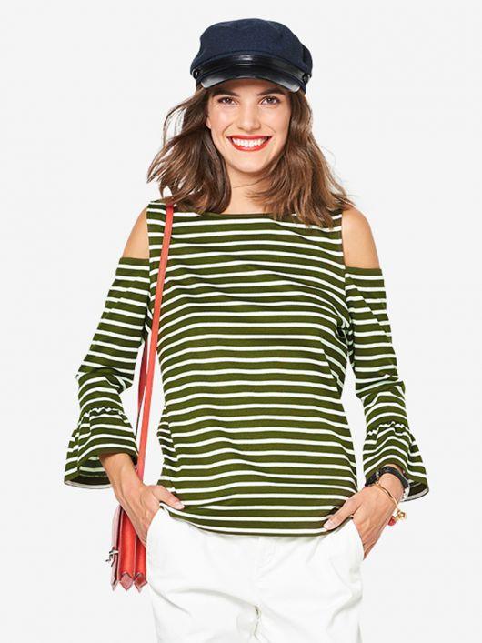 Пуловер трикотажний з відкритими плечима