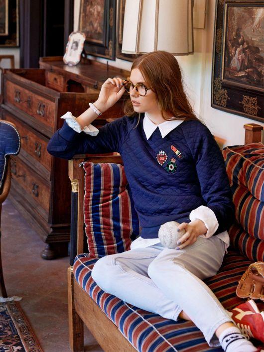 Пуловер з рукавами реглан і круглим вирізом