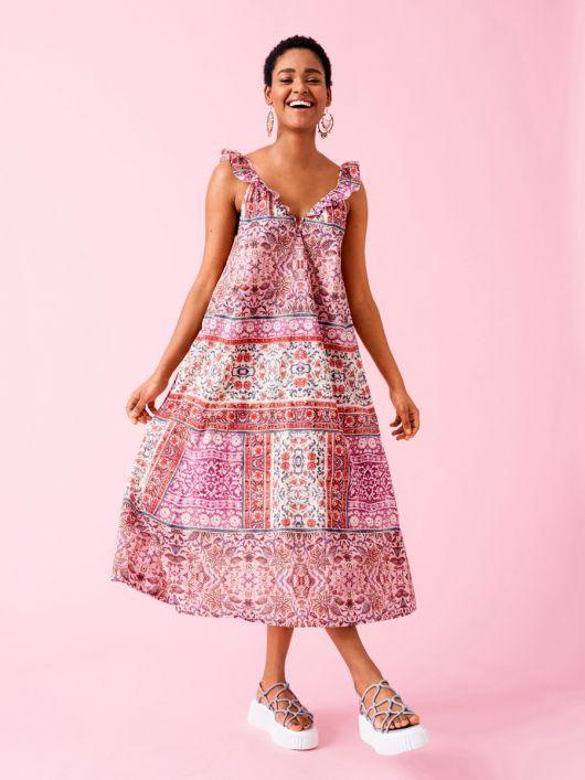 Сукня-сарафан на бретелях з оборками