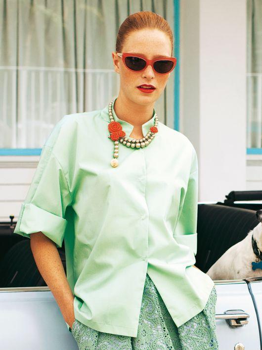Блуза-сорочка із застібкою на кнопки