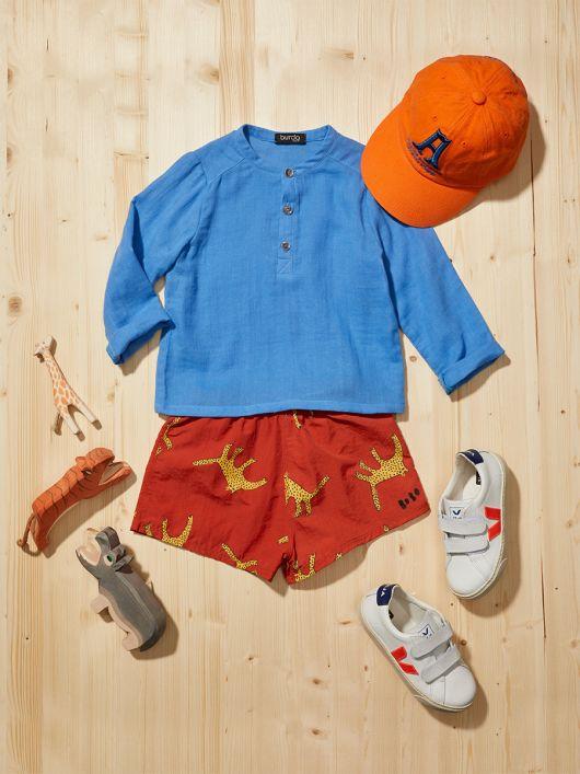 Рубашка с воротником-стойкой и застежкой поло