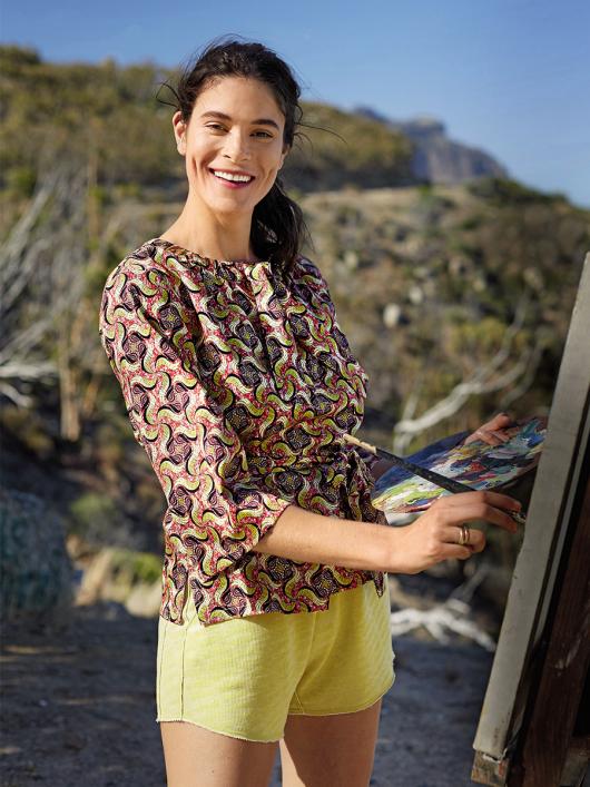 Блуза із застібкою поло і поясом