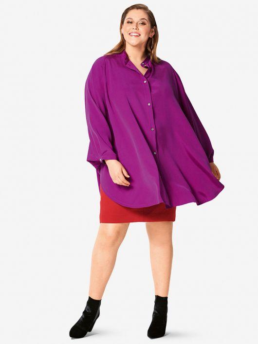 Блуза широкого крою з коміром-стойкою