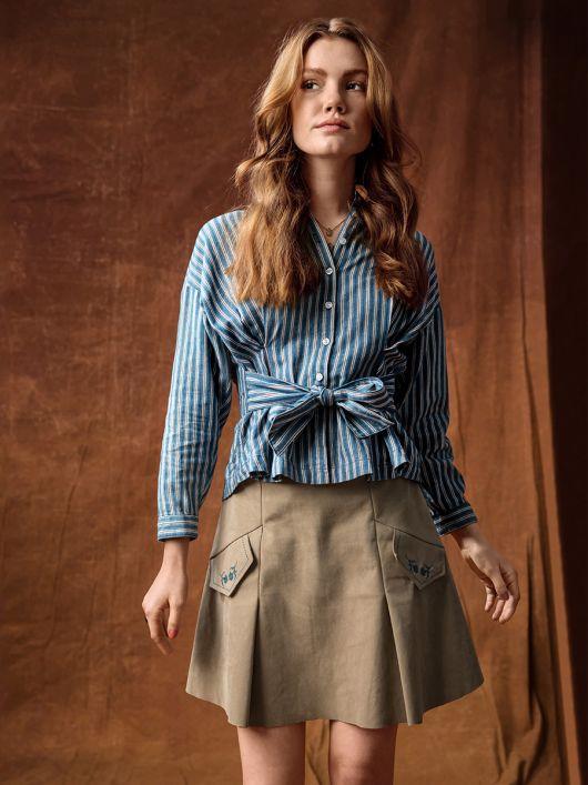 Спідниця міні А-силуету зі складками