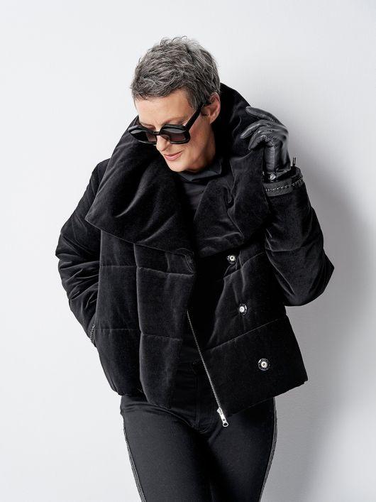 Куртка стьобана з оксамиту