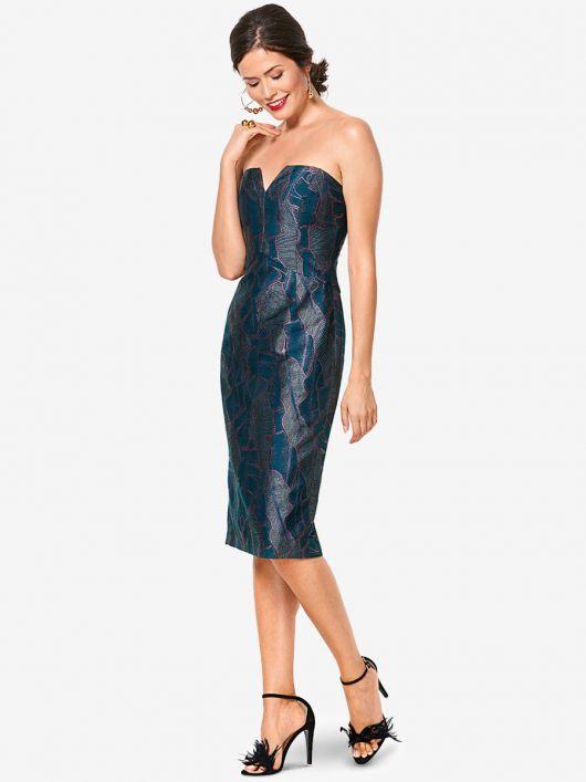 Сукня-бюстьє з атласного жакарду