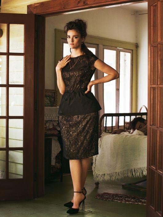 Сукня-футляр мереживна зі знімною баскою