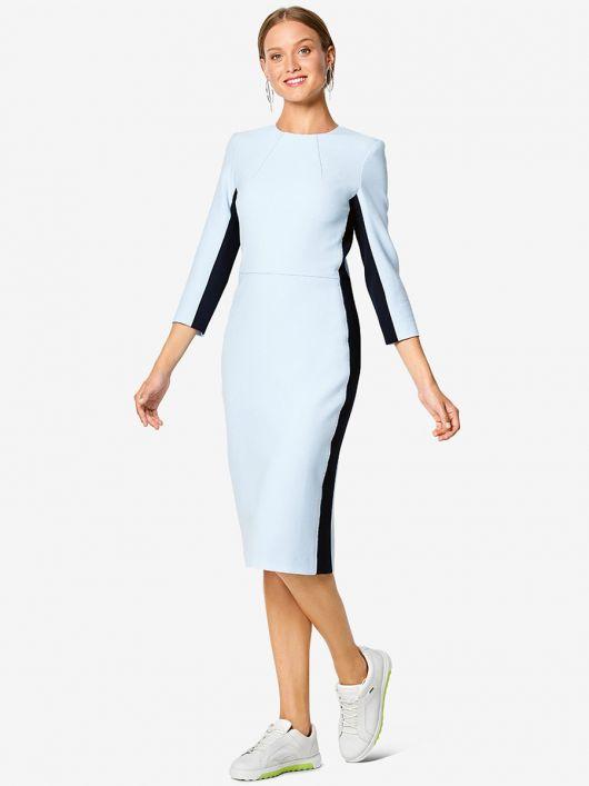 Сукня-футляр з контрастними боковими вставками