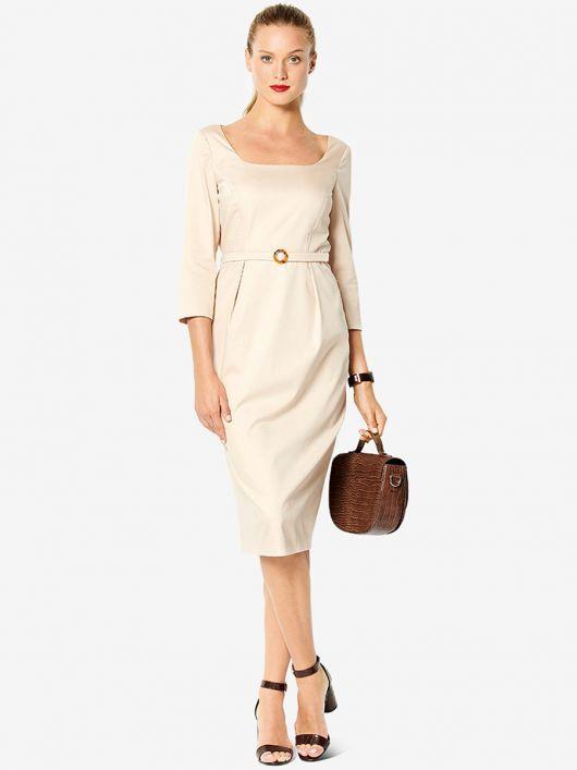 Сукня-футляр із довгими рукавами і ременем