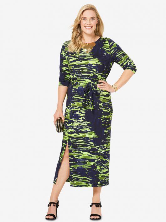 Сукня міді трикотажна з поясом
