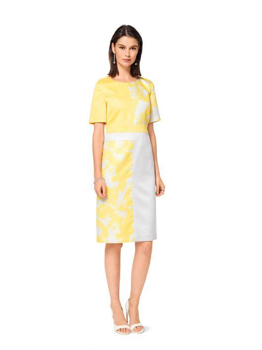 Сукня-футляр з короткими рукавами в стилі колор-блокінг