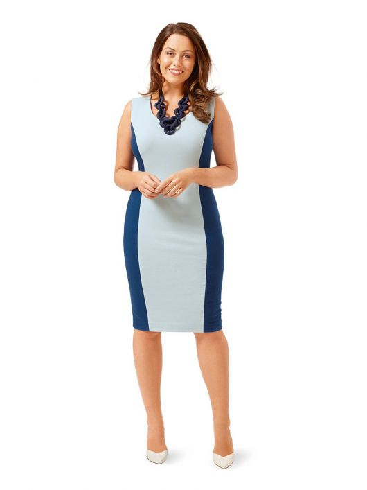 Сукня-футляр трикотажна в стилі колор-блокінг