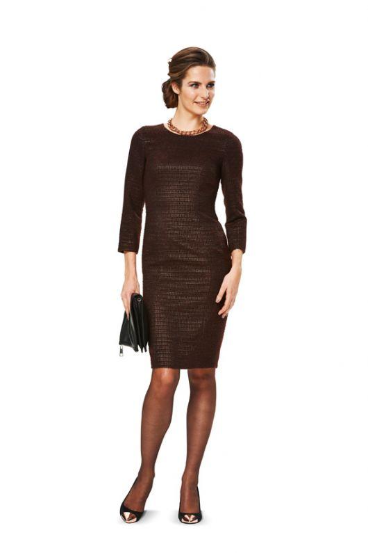 Сукня-футляр шерстяна з круглим вирізом