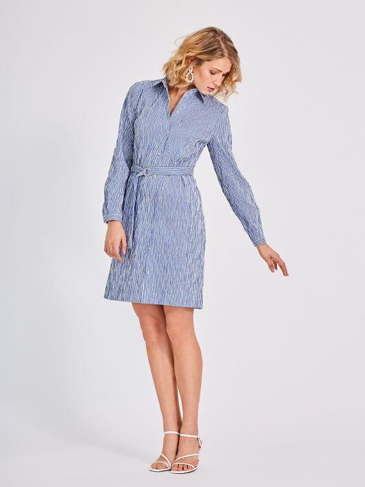 Сукня-сорочка з відкладним коміром і поясом