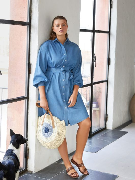 Сукня-сорочка джинсова з об'ємними рукавами