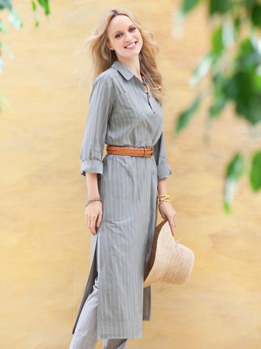 Сукня сорочкового крою з боковими розрізами
