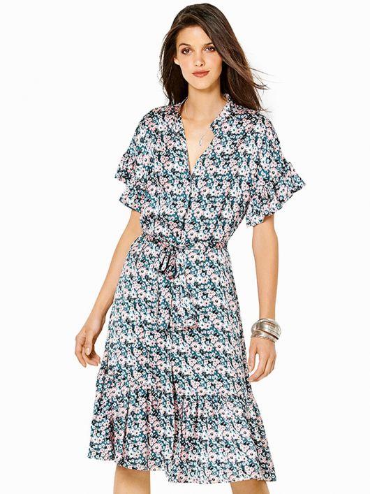 Платье-рубашка с пышными оборками и воротником-стойкой