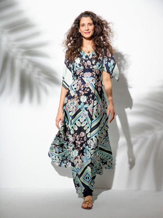 Сукня максі силуету ампір з ефектом запаху