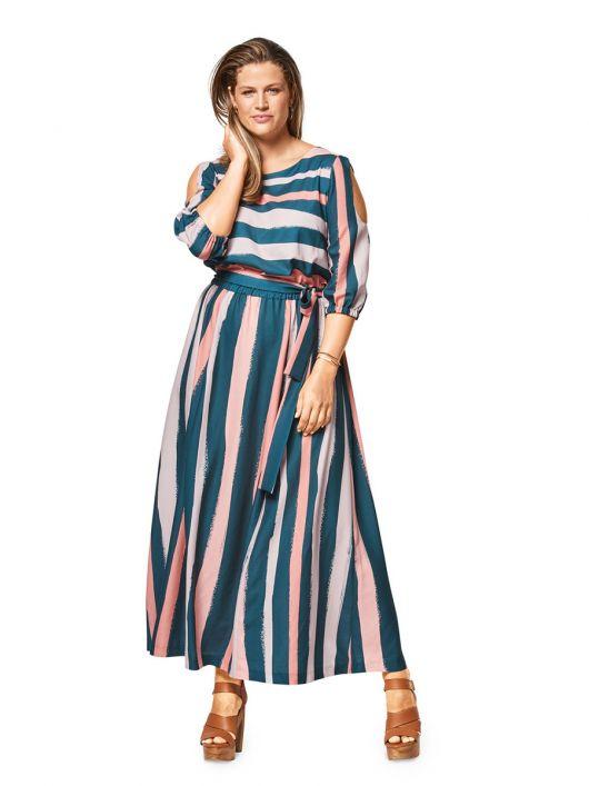 Сукня довга з вирізами на рукавах