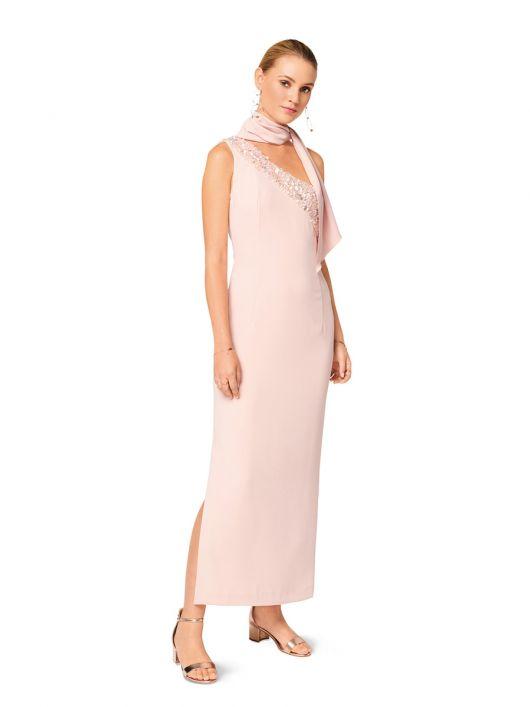 Сукня вечірня з рельєфною деталлю і шарфом
