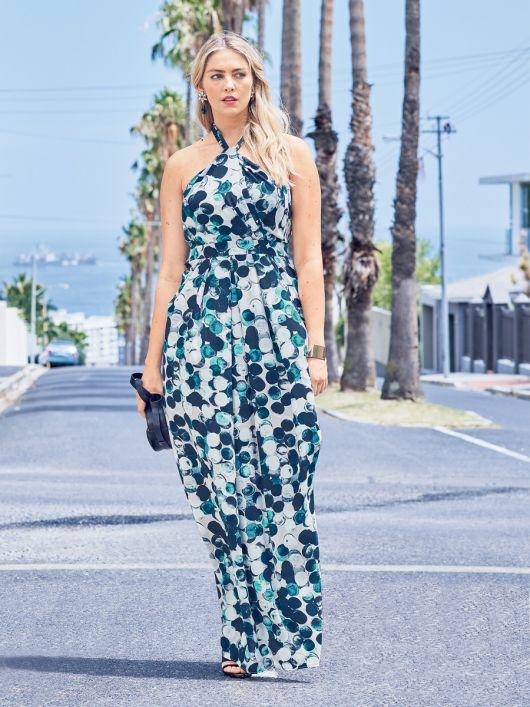 Сукня максі приталена із зав'язкою петлею