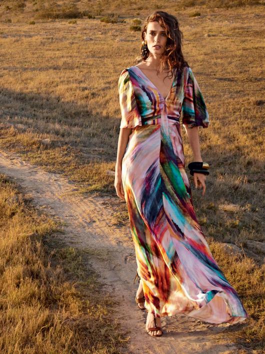 Сукня максі з рукавами крильцями і клином годе