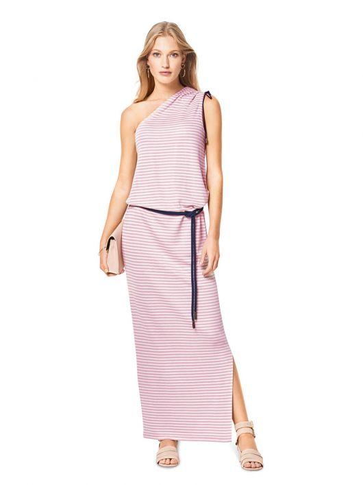 Сукня довга трикотажна на одне плече