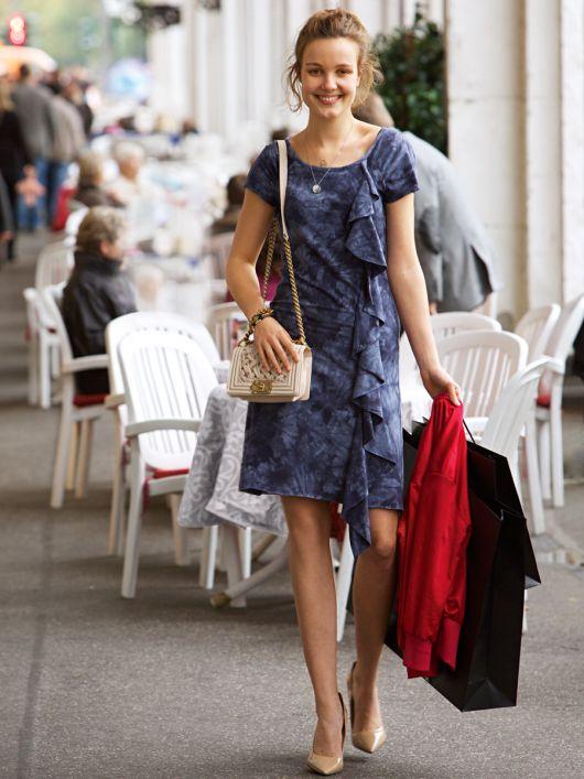 Сукня міні з настроченим воланом