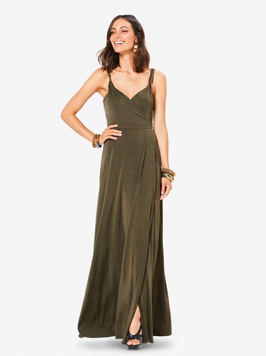 Сукня максі трикотажна на вузьких бретелях