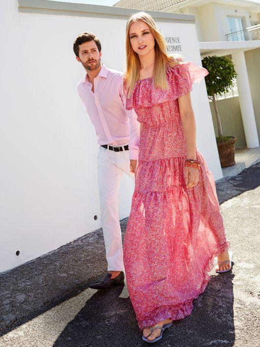 Сукня довга з вирізом кармен