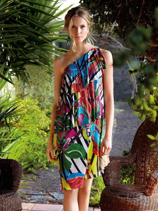 Сукня на одне плече з максі-воланами