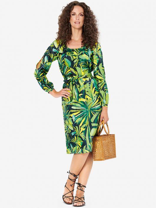 Платье с длинными рукавами реглан и поясом