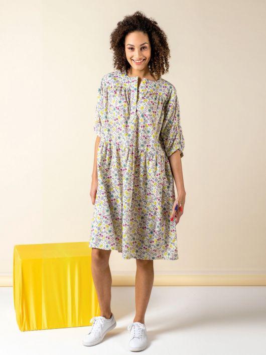 Сукня вільного крою із застібкою поло