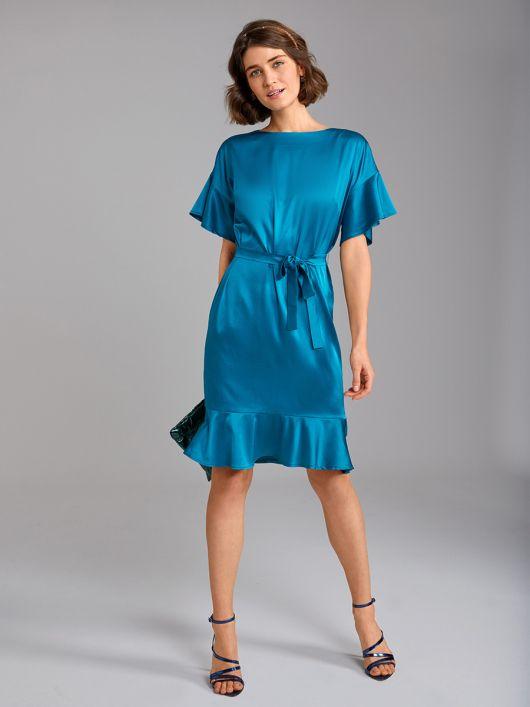 Сукня шовкова прямого крою з воланами