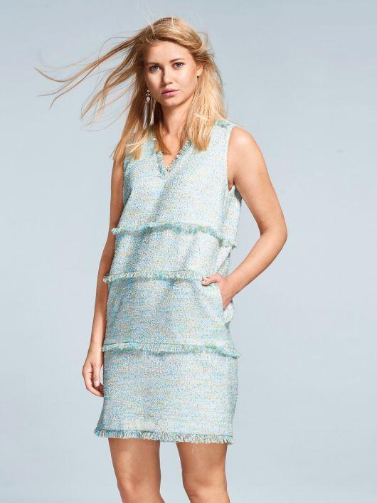 Сукня коротка з бахромою у швах