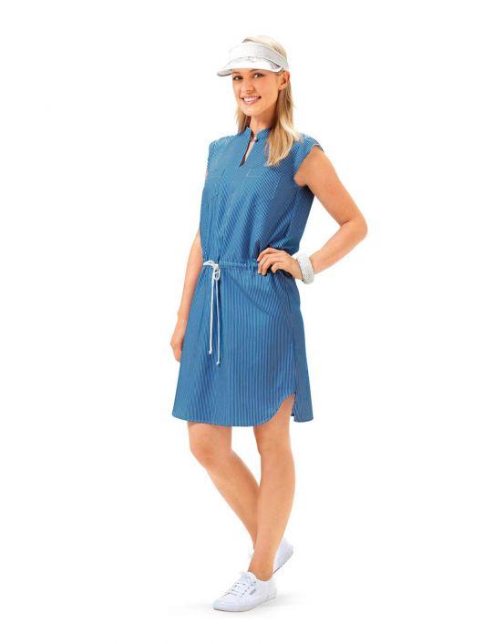 Сукня в сорочковому стилі з коміром-стойкою