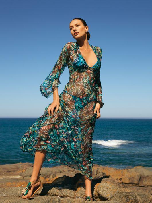 Сукня максі пляжна з широкими рукавами