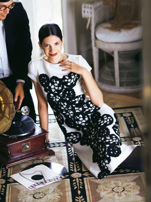 Сукня шерстяна з мереживним декором