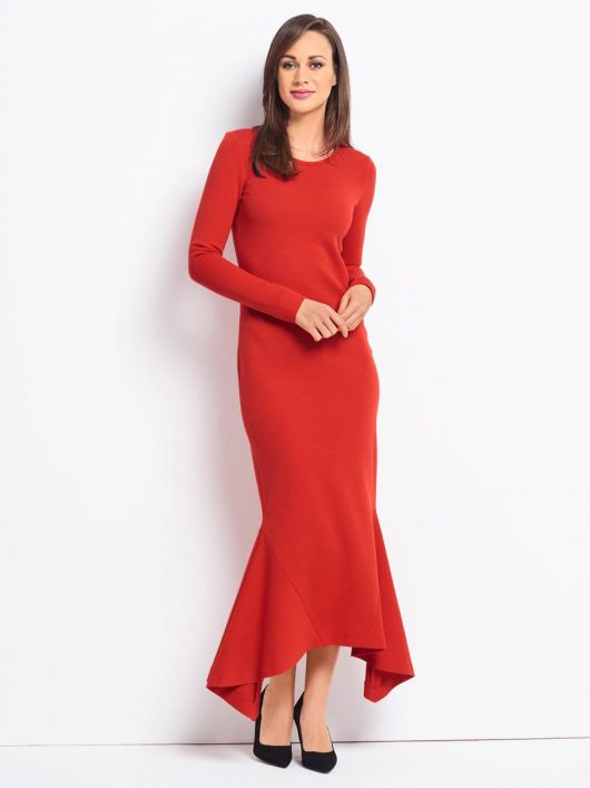 Сукня максі трикотажна із вшивними клинами