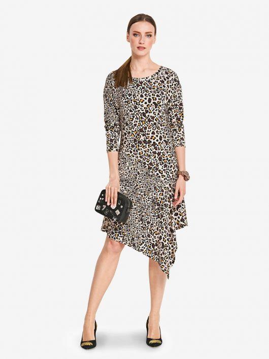 Сукня з довгими рукавами і асиметричною спідницею
