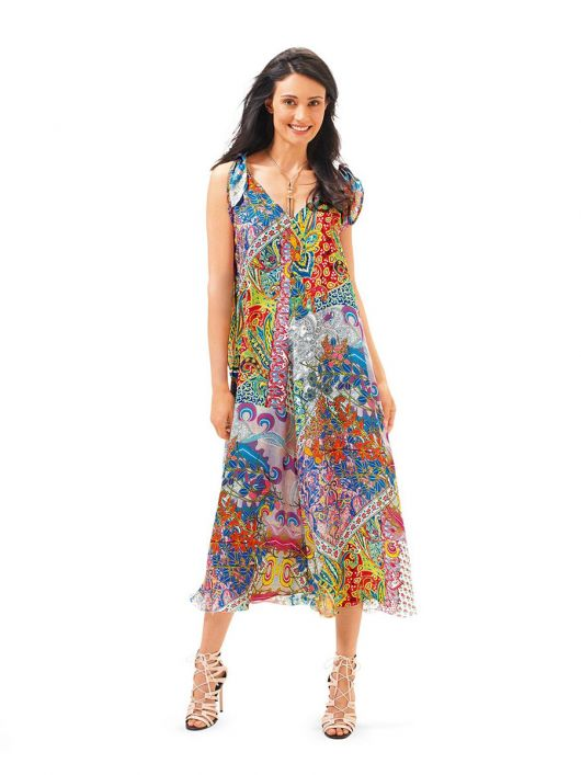 Сукня шовкова із зав'язками на плечах