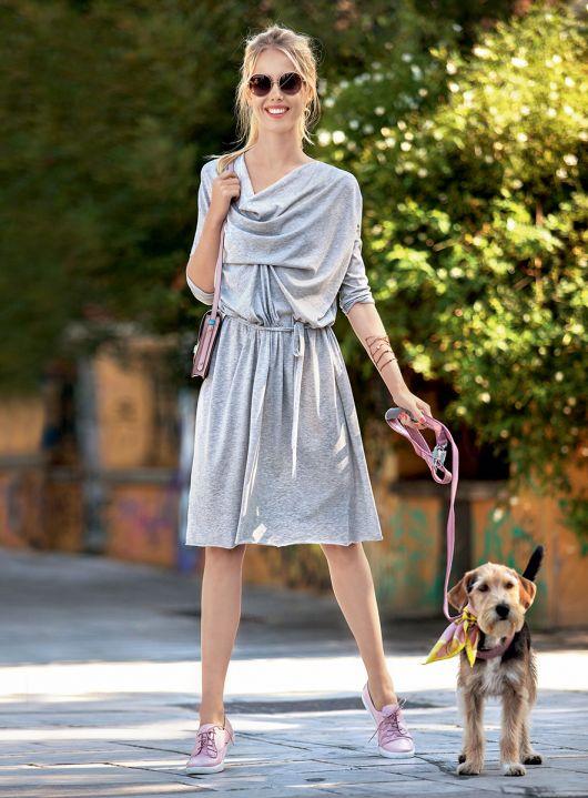 Сукня прямого крою з драпіровками