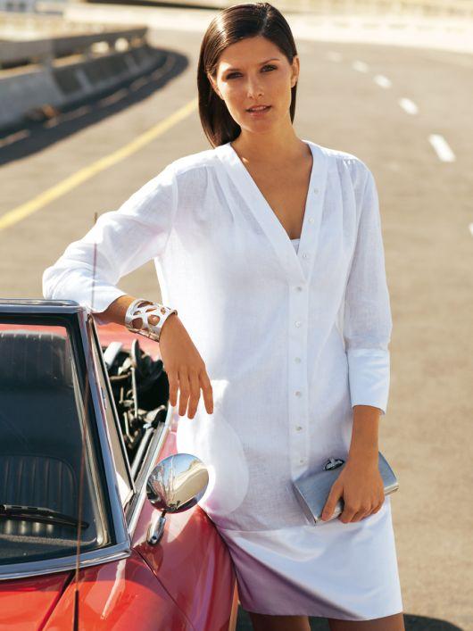 Сукня-сорочка з широкою планкою по низу