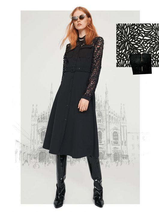 Платье-рубашка с кружевными кокетками и рукавами