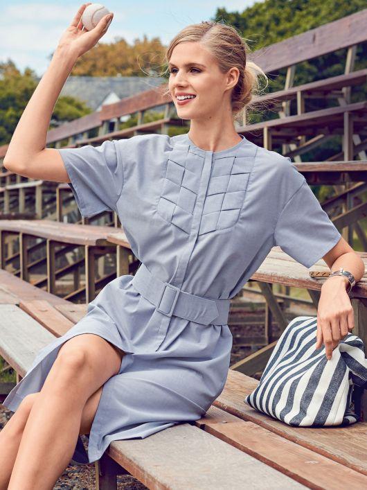 Сукня-сорочка з плетеним пластроном